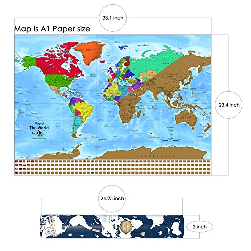 World scratch map poster 331 x 234 inches scratch and track zoom images gumiabroncs Image collections
