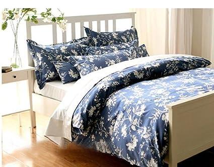 Ropa de cama cama cuatro piezas de algodón azul francés - pastoral,Four Piece Suit