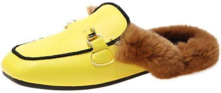 Zapatos Muller Femeninos,Retro De Cabeza Cuadrada Amarilla Simple ...
