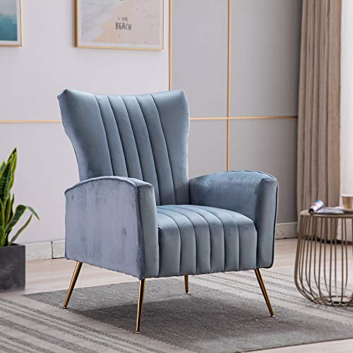 Artechworks Curved Tufted Accent Chair with Metal Gold Legs Velvet Upholstered Arm Club Leisure Modern Chair for Living Room Bedroom Patio, Blue