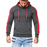 Coupondeal Men Stripe Splicing Button Pullover Long Sleeve Hooded Sweatshirt Tops Blouse(Dark Gray,XXL)