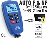 Gowe® Digital Paint Coating Thickness Gauge Meter Tester 0~1250um with Auto F & NF Probe + USB Cable + CD software