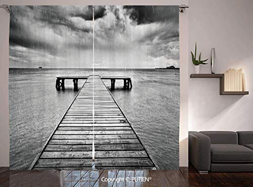 Thermal Insulated Blackout Window Curtain [ Black and White Decorations,Old Wooden Pier on Sea Dramatic Sky Heavy Clouds Rainy Weather Decorative,Black White ] for Living Room Bedroom Dorm Room Classr -
