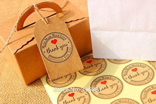 600 Pieces Round Heart Kraft Seal Sticker, 'Handmade with Love' Sticker, Kraft Paper Material