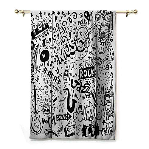 HCCJLCKS Half Shaded Roman Curtains: Doodle Music Collection with an Abstract Drawing Rock Jazz Blues Genre Classic Dancing Durable Black White W36 xL72
