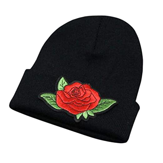 9c6c5b7f94957 URIBAKE ❤ Unisex Women s Knitted Beanies Floral Embroidered Winter Warm  Oversized Ski Slouch Hat Cap Baggy at Amazon Women s Clothing store