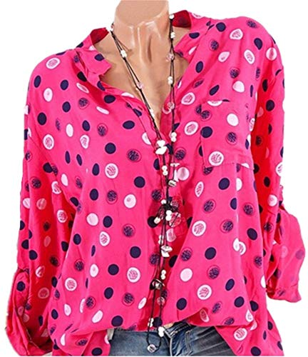 S 5XL Femme Chic Sexy Casual Mode Tops Pois Col YOGLY Chemisier Chemisier Longues Rouge Manches Boutonn Blouse Shirt a154Zqwxq