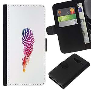 KLONGSHOP // Tirón de la caja Cartera de cuero con ranuras para tarjetas - Colores Stencil minimalista Blancas - Samsung Galaxy Core Prime //