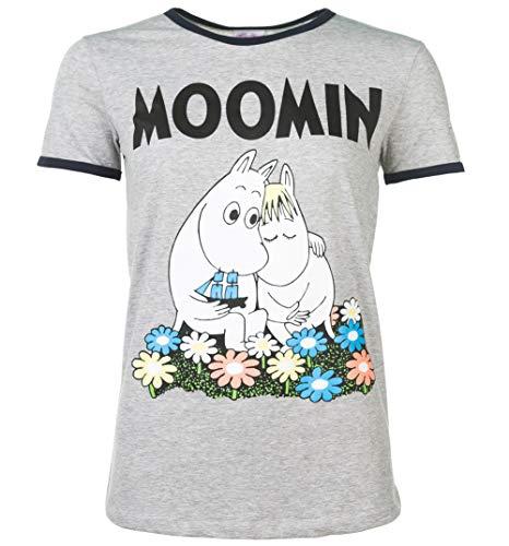 Womens Classic Moomins Grey and Navy Ringer T Shirt - 70s Cartoon Tees ()