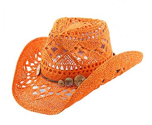 (Vamuss Western Beach Toyo Straw Cowgirl Hat with Shell Button Trim)