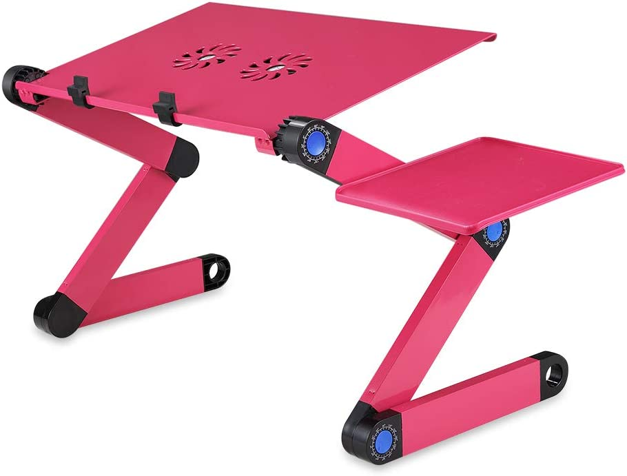 Themart Adjustable Vented Laptop Table Computer Desk Portable Bed Tray Book Stand Multifuctional & Ergonomics Design Dual Layer Tabletop with Cooling Fans (Rose red)