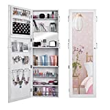 Pesters Space Save Jewelry Cabinet, Wooden Lockable Wall Door Mounted Jewelry Holder Organizer Armoire with Mirror and Telescopic Board (White)