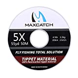M MAXIMUMCATCH Maxcatch Fluorocarbon Tippet Line for Fly Fishing –Virtually Invisible - Superior Abrasion Resistance-Low Stretch-Low Water Absorption 54yd 0X-6X