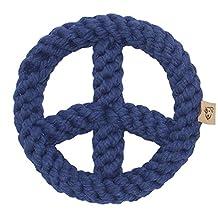 Jax & Bones Good Karma Rope Dog Toy, Peace Sign Blue 7-Inch