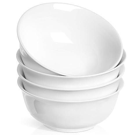 DOWAN 24 Oz, Porcelain Bowls, Deep Bowls for Soup, Cereal, Salad, Set of 4,  White