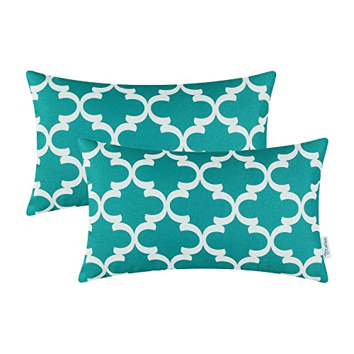 Bedroom Outdoor Bench (Pack of 2 CaliTime Bolster Pillow Covers Cases for Couch Sofa Home Decor, Modern Quatrefoil Accent Geometric, 12 X 20 Inches, Teal)