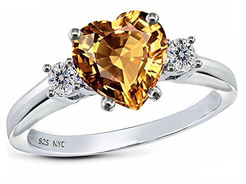 Star K 8mm Heart Shape Simulated Imperial Yellow Topaz Ring Sterling Silver Size 7.5