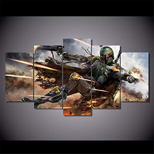 NATVVA 5 Pieces Warrior Boba Fett Wall Art Picture Home Decoration Living Room Canvas Print Wall Picture Printing On Canvas