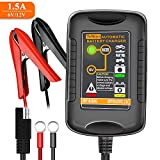 TeNizo 6V 12V Automatic Battery Trickle Charger, 1.5A Smart 4-Stages Fully Charging Maintainer for Car, Motorcycle, Automotive, Boat, Lawn Mower, Truck - SLA AGM Gel Cell Lead Acid Deep Cycle