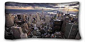 Custom Characteristic City Custom Cotton & Polyester Soft Rectangle Pillow Case Cover 20x36 inches (One Side) suitable for Queen-bed