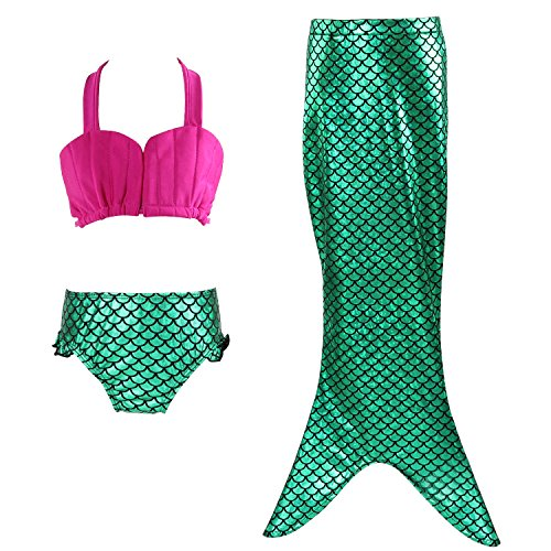 Little Kids In Suits (Mermaid Tails for Swimming, Acecharming Girls 3 Pcs Princess Mermaid Swimsuit Kids Bikini Set)