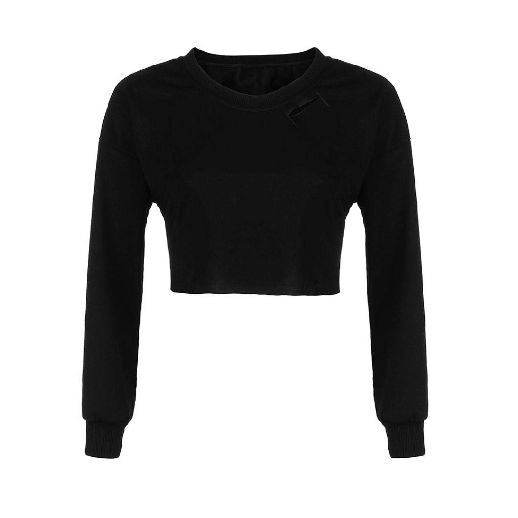 Kalmstore Women's O-Neck Cut Out Tee Top, Casual Long Sleeve Hooded Sweatshirt Jumper Pullover Top Blouse (L, Black)