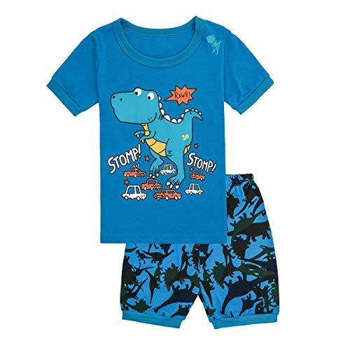 Tkala Boys Pajamas Children Clothes Set Dinosaur 100% Cotton Little Kids Pjs Sleepwear (7, 5-Dinosaur)