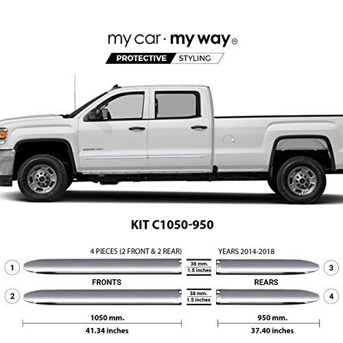 MY CAR MY WAY (Fits) GMC Sierra 2500HD Crew Cab Long Box 2014-2018 Chrome Body Side Molding Cover Trim Door Protector