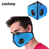 Letsfunny Dust Mask Activated Carbon Dustproof Breathing Mask Respirators Mask with Filter Cotton Sheet and Valves for Men and Women - Anti Pollen Allergy PM2.5 (Blue)
