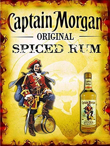 HarrodxBOX Captain Morgan Original Spiced Rum Wall Decor Home Decor Metal Signs Funny Aluminum Sign for Garage Home Yard Fence Driveway