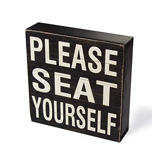 (Yankario Farmhouse Funny Bathroom Signs Decor, Classic Wooden Box Sign 6