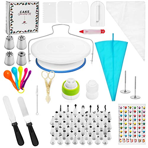 Cake Decorating Supplies Kit by The Unruly Bear - 100+ pc Baking tools set includes turntable stand, piping bags, stainless numbered Icing and Russian tips with coupler, measuring spoons, and MORE! -