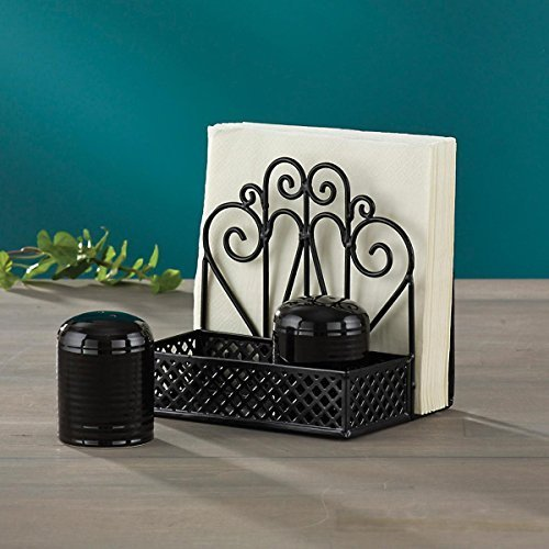 Black Salt & Pepper Napkin Holder