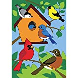 Birds of a Feather Tree Birdhouse 42 x 29 Rectangular Double Applique Large House Flag For Sale