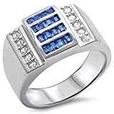 Men's 4CT Simulated Sapphire & CZ .925 Sterling Silver Ring Size 13