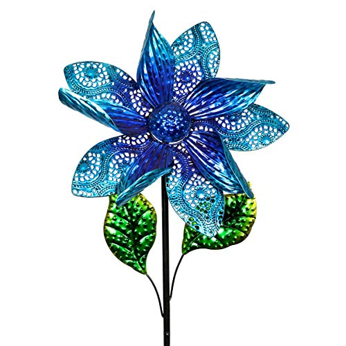 Exhart Dual Layer Blue Flower Wind Spinner Garden Stake - Spinning Metal Flower Garden Stake w/Metal Lace Petals - Kinetic Art Flower Decor Metal Spinners in Blue, 15 x 52 ()