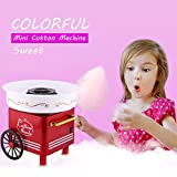 Kaimu Family Cotton Candy Machine Party Red Stainless Steel Safe Cute Casual Cotton Candy Maker(US STOCK)