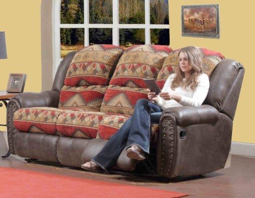 Chelsea Home Furniture Yuma Reclining Sofa, I/O Canyon Bay Sienna/Tuscan Espresso