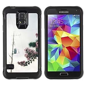 LASTONE PHONE CASE / Suave Silicona Caso Carcasa de Caucho Funda para Samsung Galaxy S5 SM-G900 / Blooming Photo Power Lines Grey Sky