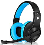 Cheap Headset Gaming for PS4 ,Xbox One Gaming Headset ,Wired Noise Isolation, Over-Ear Headphones with Mic ,Stereo Gamer Headphones 3.5mm(Blue)