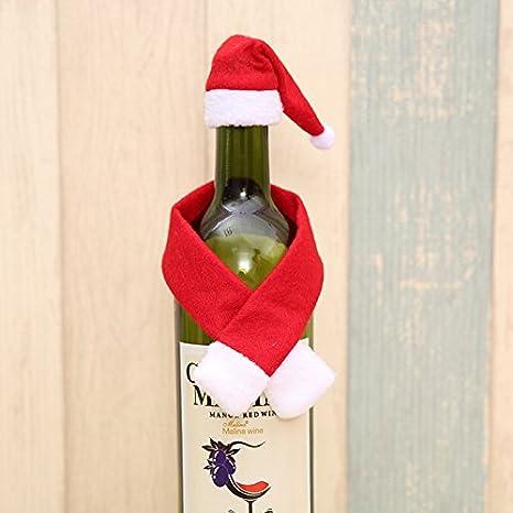 Fjiujin,Lindas y pequeñas Bufandas y Sombreros Decorados con Botellas de Navidad(Color: