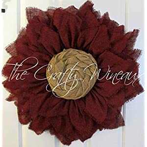 """Extra Large 30"""" Burgundy Wine Burlap Sunflower Wreath by The Crafty WineauxTM 73"""