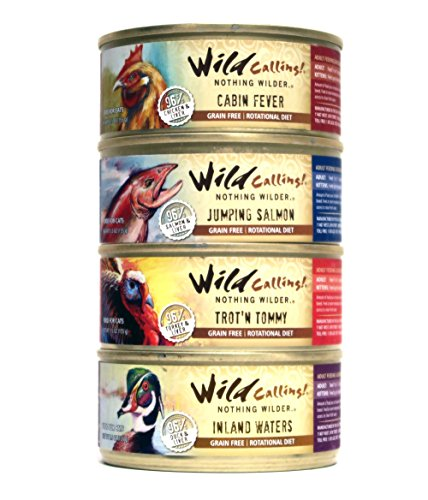 Wild Calling! Grain Free Cat Food Variety Pack - 4 Flavors (Chicken, Salmon, Turkey, & Duck) 5.5 Ounces Each (12 Total Cans)