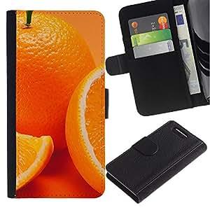 LECELL--Cuero de la tarjeta la carpeta del tirón Smartphone Slots Protección Holder For Sony Xperia Z3 Compact -- Anaranjado lindo --