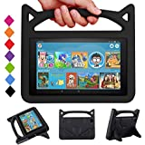 F i r e 7 Tablet Case for Kids - SHREBORN Kids Shock Proof Protective Cover with Handle and Foldable Bracket for F i r e 7 Inch Tablet (Compatible with 7th Generation & 5th Generation) - Black