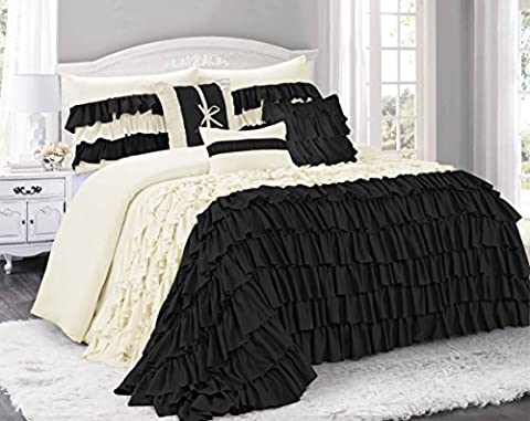 7 Piece BRISE Double Color Ruffled Comforter Set-Queen King Cal.King Size (Queen, Ivory/Black)