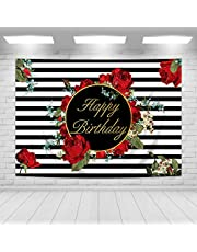 Imirell Roses Happy Birthday Backdrop 7Wx5H Feet Black White Stripes Floral Baby Shower Wedding Women Birthday Photography Backgrounds Photo Shoot Decor Props Photo Shoot