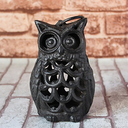 YQ WHJB Vintage Cast iron Candle holder,European Owl Candlestick,Living room Candlelight dinner props Table Home furnishings Hanging lights-A