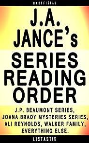 J.A. Jance Series Reading Order: Series List - In Order: J.P. Beaumont series, Joana Brady Mysteries series, A