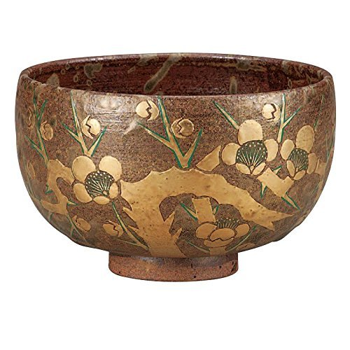 Kutani Pottery Matcha (Japanese Green Tea) Bowl Gold Plum flowers K4-851 from Japan by Kutani Pottery